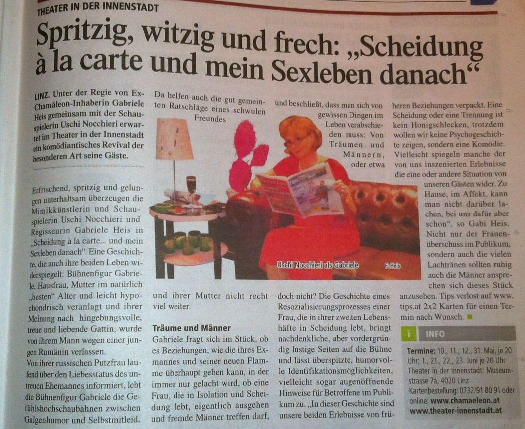 """Tips Linz: 2x2 Karten gewinnen für """"Scheidung á la Carte - und mein (Sex)Leben danach"""""""